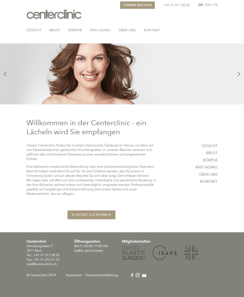Bild der Startseite der Centerclinic Bern als Referenz im Portfolio