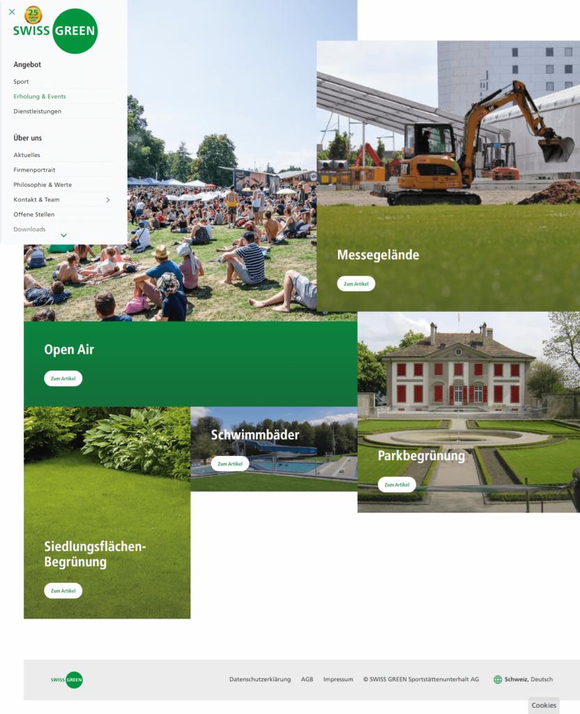 Screenshot der Startseite von swissgreen.ch als Referenz im Portfolio